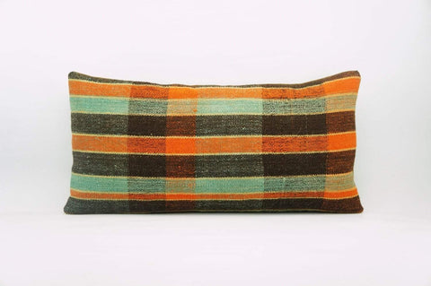 12x24 Vintage Hand Woven Kilim Pillow Lumbar Bohemian pillow case, Modern home decor  orange green brown  striped 968 - kilimpillowstore  - 1