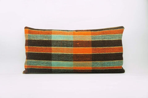 12x24 Vintage Hand Woven Kilim Pillow Lumbar Bohemian pillow case, Modern home decor  orange green brown  striped 972 - kilimpillowstore  - 1