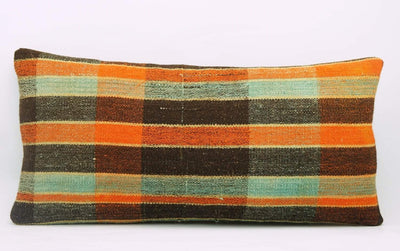12x24 Vintage Hand Woven Kilim Pillow Lumbar Bohemian pillow case, Modern home decor  orange green brown  striped 975 - kilimpillowstore  - 2