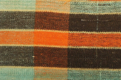 12x24 Vintage Hand Woven Kilim Pillow Lumbar Bohemian pillow case, Modern home decor  orange green brown  striped 975 - kilimpillowstore  - 3