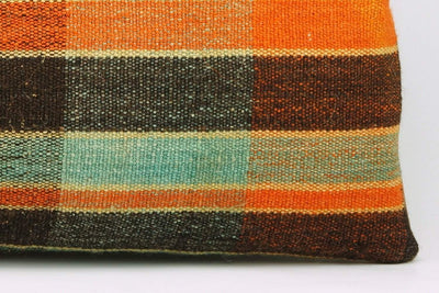 12x24 Vintage Hand Woven Kilim Pillow Lumbar Bohemian pillow case, Modern home decor  orange green brown  striped 975 - kilimpillowstore  - 4