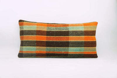 12x24 Vintage Hand Woven Kilim Pillow Lumbar Bohemian pillow case, Modern home decor  orange green brown  striped 975 - kilimpillowstore  - 1