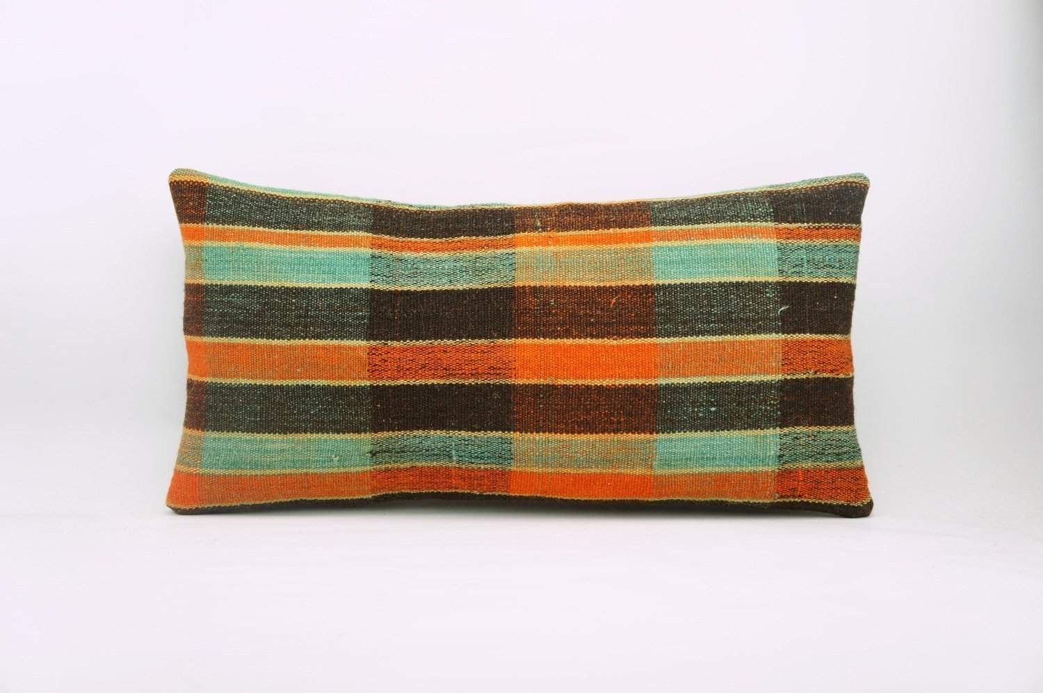 12x24 Vintage Hand Woven Kilim Pillow Lumbar Bohemian pillow case, Modern home decor  orange green brown  striped 976