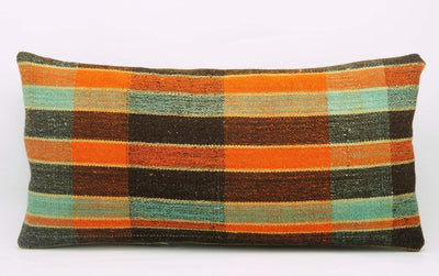 12x24 Vintage Hand Woven Kilim Pillow Lumbar Bohemian pillow case, Modern home decor  orange green brown  striped 977 - kilimpillowstore  - 2