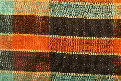 12x24 Vintage Hand Woven Kilim Pillow Lumbar Bohemian pillow case, Modern home decor  orange green brown  striped 977 - kilimpillowstore  - 3