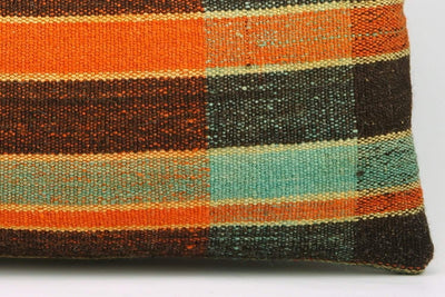 12x24 Vintage Hand Woven Kilim Pillow Lumbar Bohemian pillow case, Modern home decor  orange green brown  striped 977 - kilimpillowstore  - 4