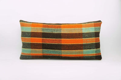 12x24 Vintage Hand Woven Kilim Pillow Lumbar Bohemian pillow case, Modern home decor  orange green brown  striped 977 - kilimpillowstore  - 1
