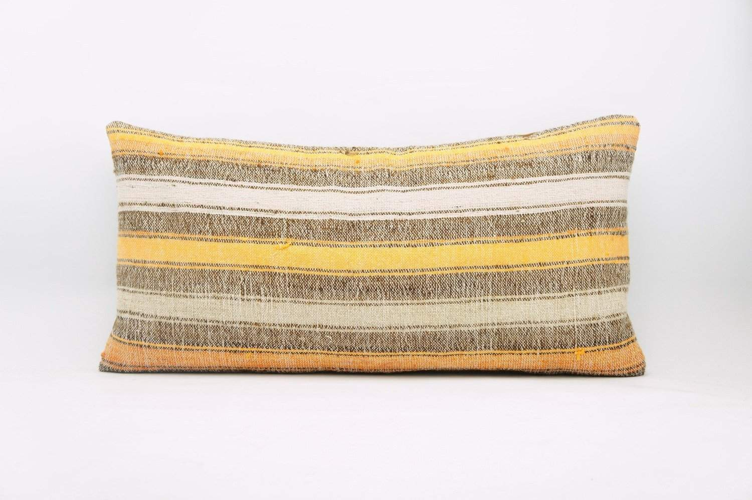 12x24 Vintage Hand Woven Kilim Pillow Lumbar Bohemian pillow case, Modern home decor orange white brown striped 953