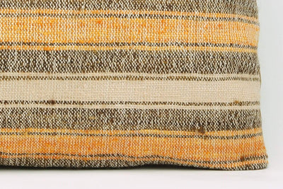 12x24 Vintage Hand Woven Kilim Pillow Lumbar Bohemian pillow case, Modern home decor  orange white brown  striped 958 - kilimpillowstore  - 4