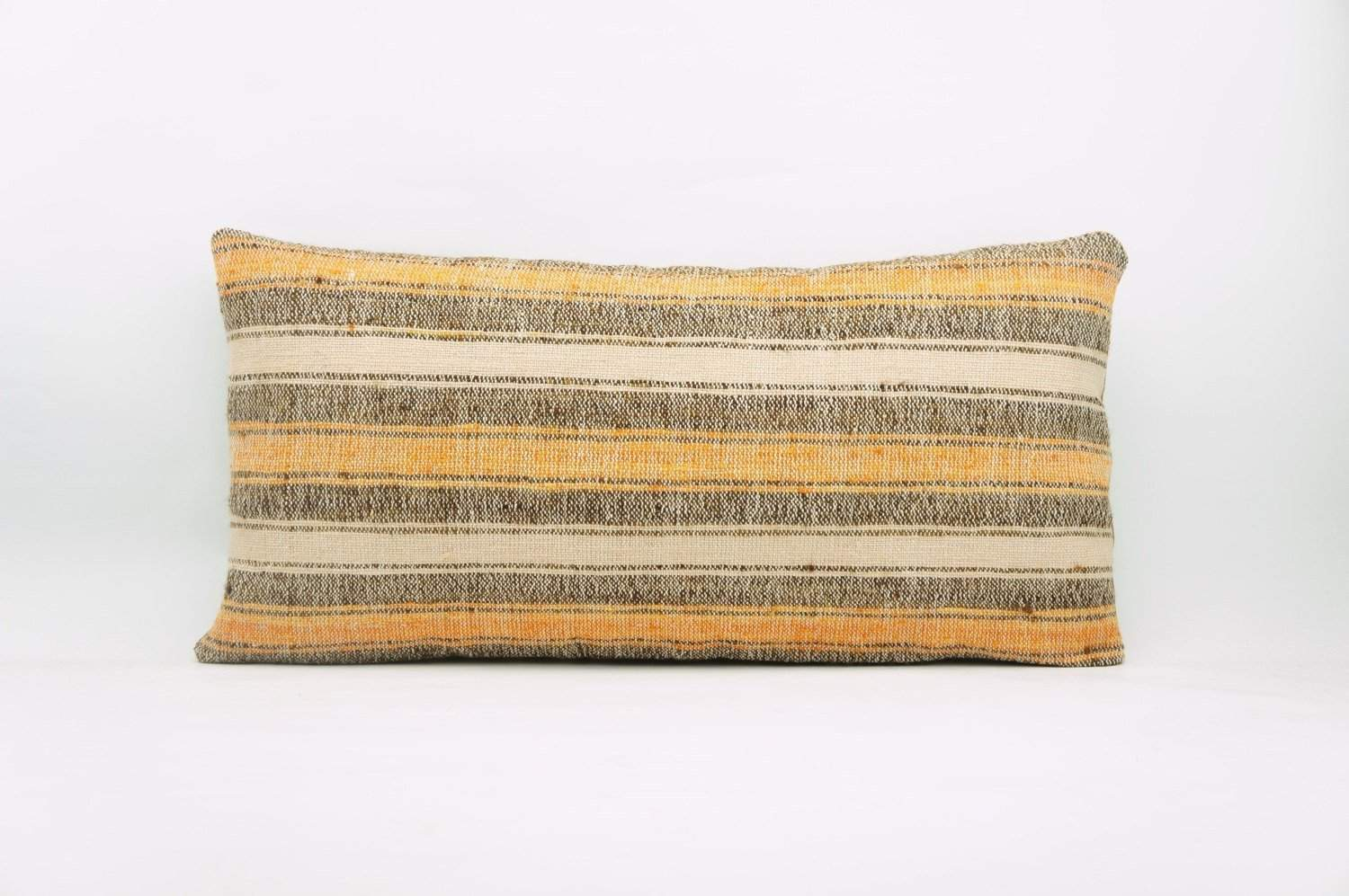 12x24 Vintage Hand Woven Kilim Pillow Lumbar Bohemian pillow case, Modern home decor  orange white brown  striped 958 - kilimpillowstore  - 1