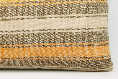 12x24 Vintage Hand Woven Kilim Pillow Lumbar Bohemian pillow case, Modern home decor  orange white brown  striped 960 - kilimpillowstore  - 4