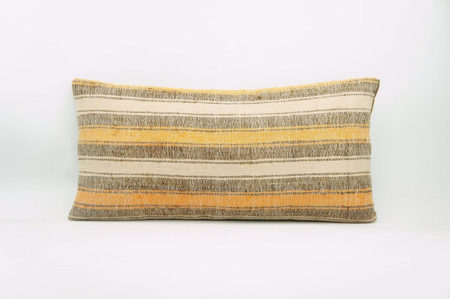 12x24 Vintage Hand Woven Kilim Pillow Lumbar Bohemian pillow case, Modern home decor orange white brown striped 960