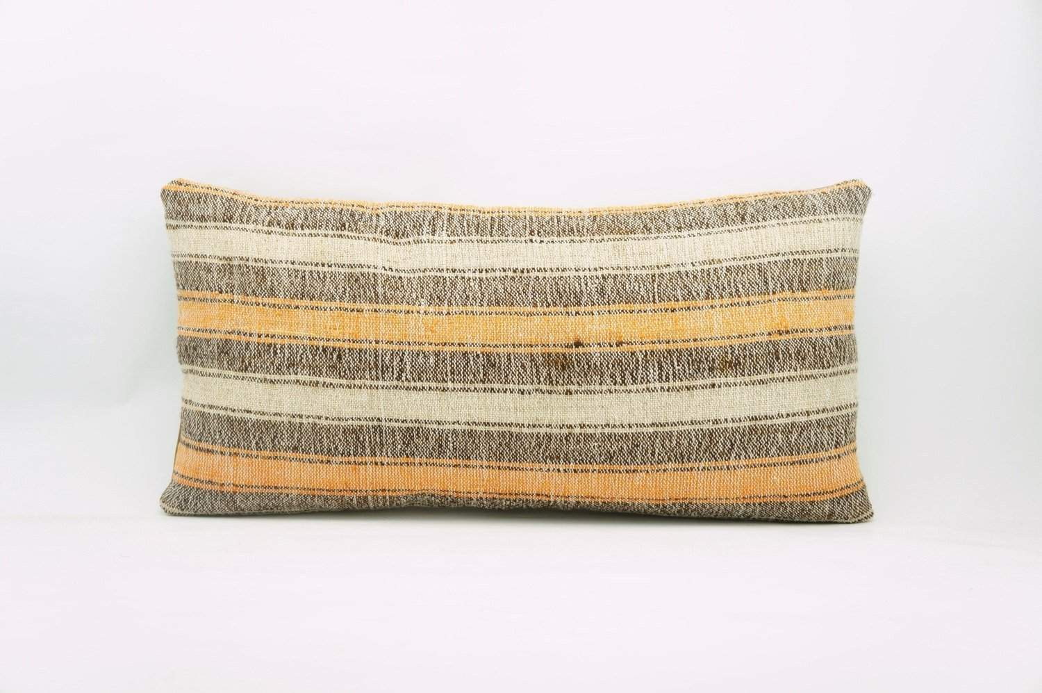 12x24 Vintage Hand Woven Kilim Pillow Lumbar Bohemian pillow case, Modern home decor orange white brown striped 963