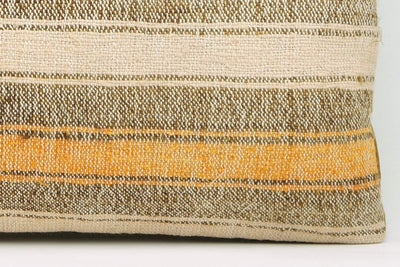12x24 Vintage Hand Woven Kilim Pillow Lumbar Bohemian pillow case, Modern home decor  orange white brown  striped 964 - kilimpillowstore  - 4