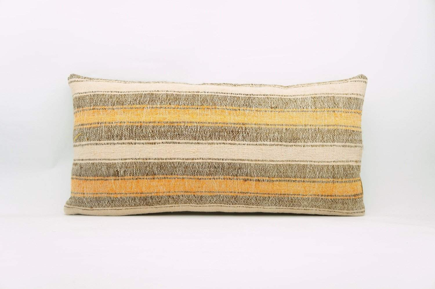 12x24 Vintage Hand Woven Kilim Pillow Lumbar Bohemian pillow case, Modern home decor orange white brown striped 964