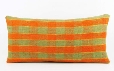 12x24 Vintage Hand Woven Kilim Pillow Lumbar  pastel, checkered, plaid, orange green 1851 - kilimpillowstore  - 2