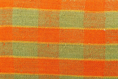 12x24 Vintage Hand Woven Kilim Pillow Lumbar  pastel, checkered, plaid, orange green 1851 - kilimpillowstore  - 3