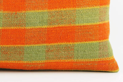 12x24 Vintage Hand Woven Kilim Pillow Lumbar  pastel, checkered, plaid, orange green 1851 - kilimpillowstore  - 4