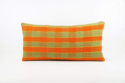 12x24 Vintage Hand Woven Kilim Pillow Lumbar  pastel, checkered, plaid, orange green 1851 - kilimpillowstore  - 1