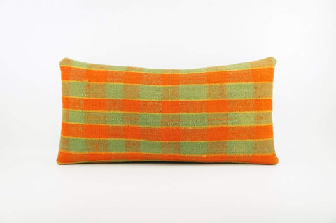 12x24 Vintage Hand Woven Kilim Pillow Lumbar  pastel, checkered, plaid, orange green 1853 - kilimpillowstore  - 1