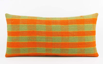 12x24 Vintage Hand Woven Kilim Pillow Lumbar  pastel, checkered, plaid, orange green 1854 - kilimpillowstore  - 2