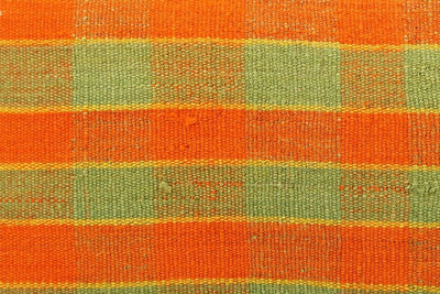 12x24 Vintage Hand Woven Kilim Pillow Lumbar  pastel, checkered, plaid, orange green 1854 - kilimpillowstore  - 3