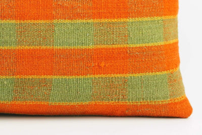 12x24 Vintage Hand Woven Kilim Pillow Lumbar  pastel, checkered, plaid, orange green 1854 - kilimpillowstore  - 4