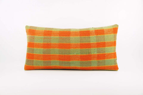 12x24 Vintage Hand Woven Kilim Pillow Lumbar  pastel, checkered, plaid, orange green 1855 - kilimpillowstore  - 1