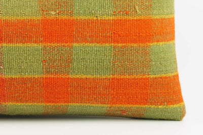 12x24 Vintage Hand Woven Kilim Pillow Lumbar  pastel, checkered, plaid, orange green 1858 - kilimpillowstore  - 4