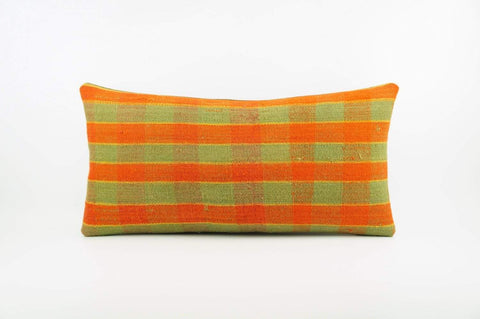 12x24 Vintage Hand Woven Kilim Pillow Lumbar  pastel, checkered, plaid, orange green 1858 - kilimpillowstore  - 1