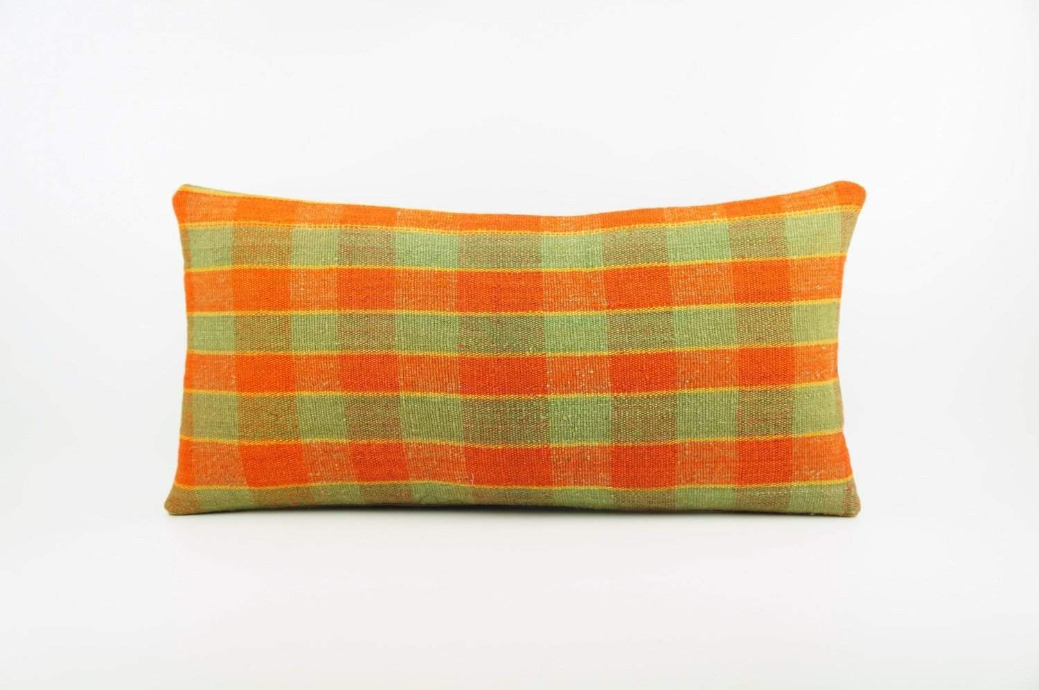 12x24 Vintage Hand Woven Kilim Pillow Lumbar pastel, checkered, plaid, orange green 1859