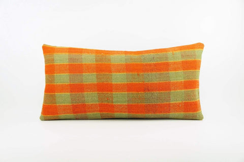12x24 Vintage Hand Woven Kilim Pillow Lumbar  pastel, checkered, plaid, orange green 1860 - kilimpillowstore  - 1