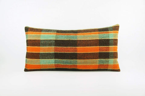 12x24 Vintage Hand Woven Kilim Pillow Lumbar  pastel, checkered, plaid,blue, orange,black 1837 - kilimpillowstore  - 1
