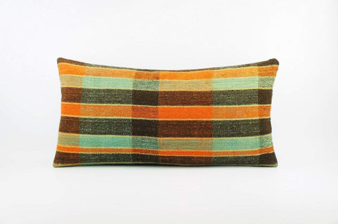 12x24 Vintage Hand Woven Kilim Pillow Lumbar  pastel, checkered, plaid,blue, orange,black 1839 - kilimpillowstore  - 1