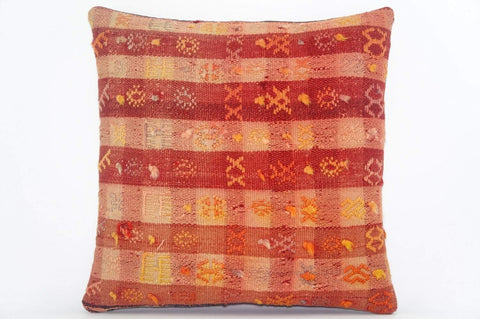 "16""  plaid orange pillow case, colorful accent cushion, floor pillow, kilim pillow ,throw pillow cover ,decorative throw , 1602 - kilimpillowstore  - 1"