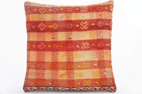 "16""  plaid orange pillow case, colorful accent cushion, floor pillow, kilim pillow ,throw pillow cover ,decorative throw , 1603 - kilimpillowstore  - 1"