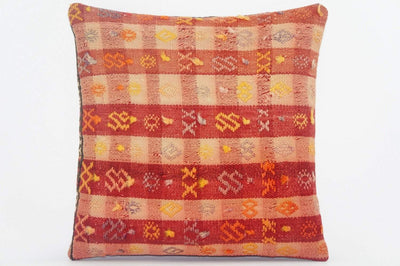 "16""  plaid red pillow case, colorful accent cushion, floor pillow, kilim pillow ,throw pillow cover ,decorative throw , 1604 - kilimpillowstore  - 1"