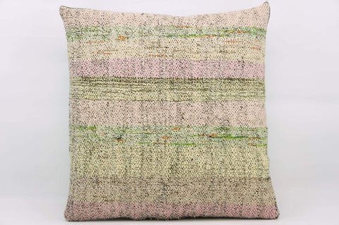 16x16  Hand Woven wool multi colour splashy pink green striped  Kilim Pillow  cushion 1160_A - kilimpillowstore  - 1