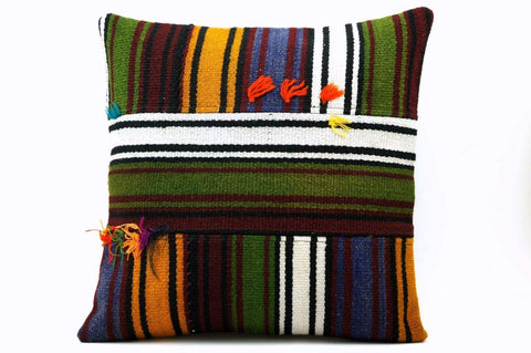 16x16 Vintage Hand Woven Turkish Kilim Pillow  - Old  Kilim Cushion 312,navy blue,green,black,amber,claret red,white , tassel,striped - kilimpillowstore  - 1