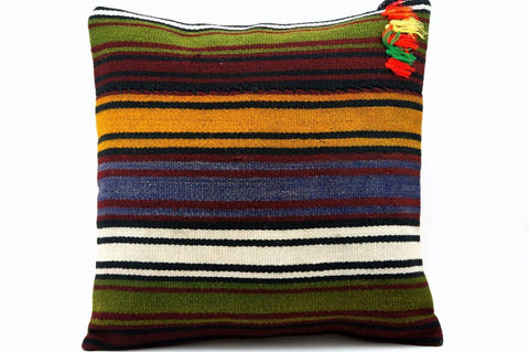 16x16 Vintage Hand Woven Turkish Kilim Pillow  - Old  Kilim Cushion 318,navy blue,green,black,amber,claret red,white , tassel,striped - kilimpillowstore  - 1