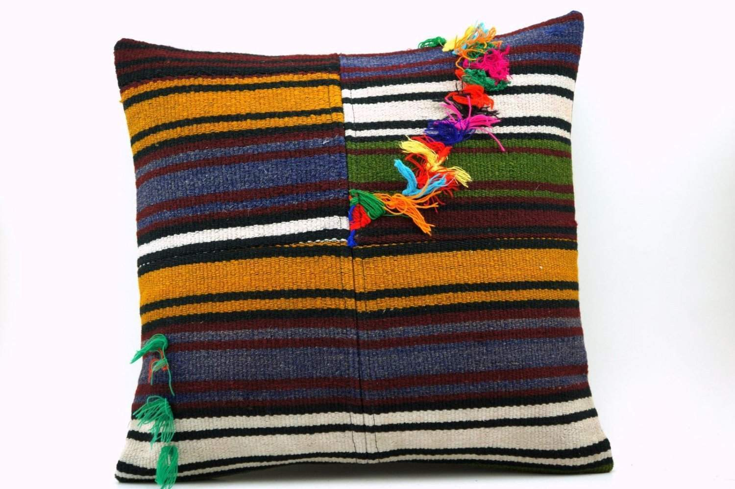 16x16 Vintage Hand Woven Turkish Kilim Pillow  - Old  Kilim Cushion 322,navy blue,green,black,amber,claret red,white , tassel,striped - kilimpillowstore  - 1
