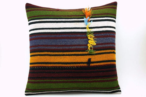 16x16 Vintage Hand Woven Turkish Kilim Pillow  - Old  Kilim Cushion 323,navy blue,green,black,amber,claret red,white , tassel,striped - kilimpillowstore  - 1