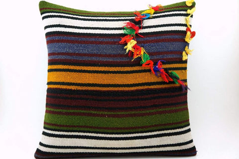 16x16 Vintage Hand Woven Turkish Kilim Pillow  - Old  Kilim Cushion 325,navy blue,green,black,amber,claret red,white , tassel,striped - kilimpillowstore  - 1