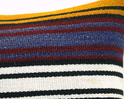 16x16 Vintage Hand Woven Turkish Kilim Pillow  - Old  Kilim Cushion 327,navy blue,green,black,amber,claret red,white , tassel,striped - kilimpillowstore  - 4