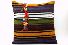 16x16 Vintage Hand Woven Turkish Kilim Pillow  - Old  Kilim Cushion 327,navy blue,green,black,amber,claret red,white , tassel,striped - kilimpillowstore  - 1