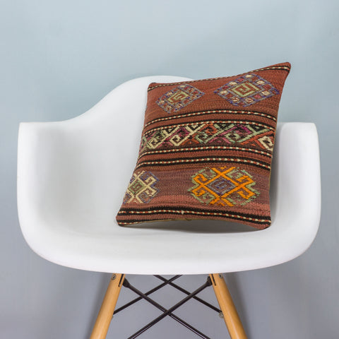 Anatolian Brown Kilim Pillow Cover 16x16 3793 - kilimpillowstore  - 1
