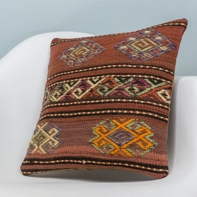 Anatolian Brown Kilim Pillow Cover 16x16 3793 - kilimpillowstore  - 2