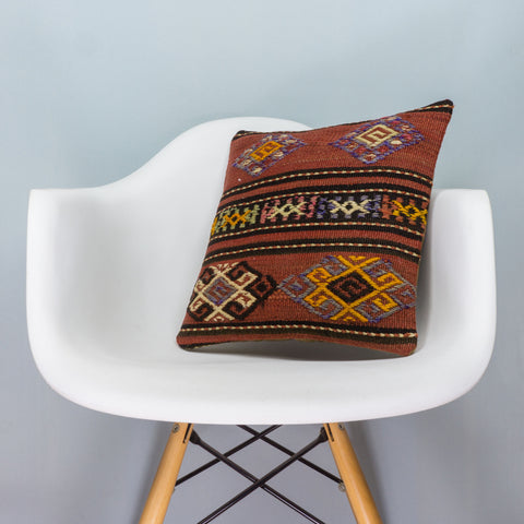 Anatolian Brown Kilim Pillow Cover 16x16 3796 - kilimpillowstore  - 1