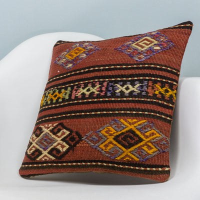 Anatolian Brown Kilim Pillow Cover 16x16 3796 - kilimpillowstore  - 2