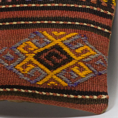 Anatolian Brown Kilim Pillow Cover 16x16 3796 - kilimpillowstore  - 3